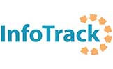 The InfoTrack company logo written in blue text with a semi circle of yellow arrows