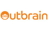 """The Outbrain company logo in orange text with the letter """"O"""" designed as a person with graphically designed hair and glasses"""
