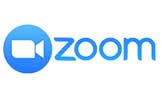"""Zoom company logo with an image of a webcam in white in a light blue circle and the words """"zoom"""" written in light blue"""