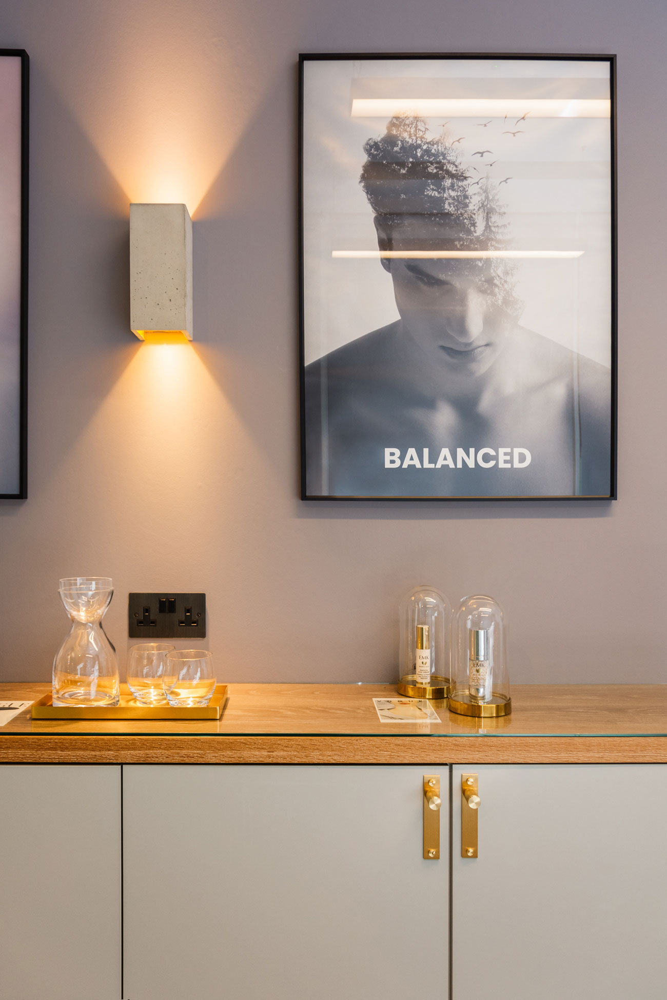 Close up of one of the double exposed graphic prints signifying balance between man and nature at the Banning Beauty Clinique