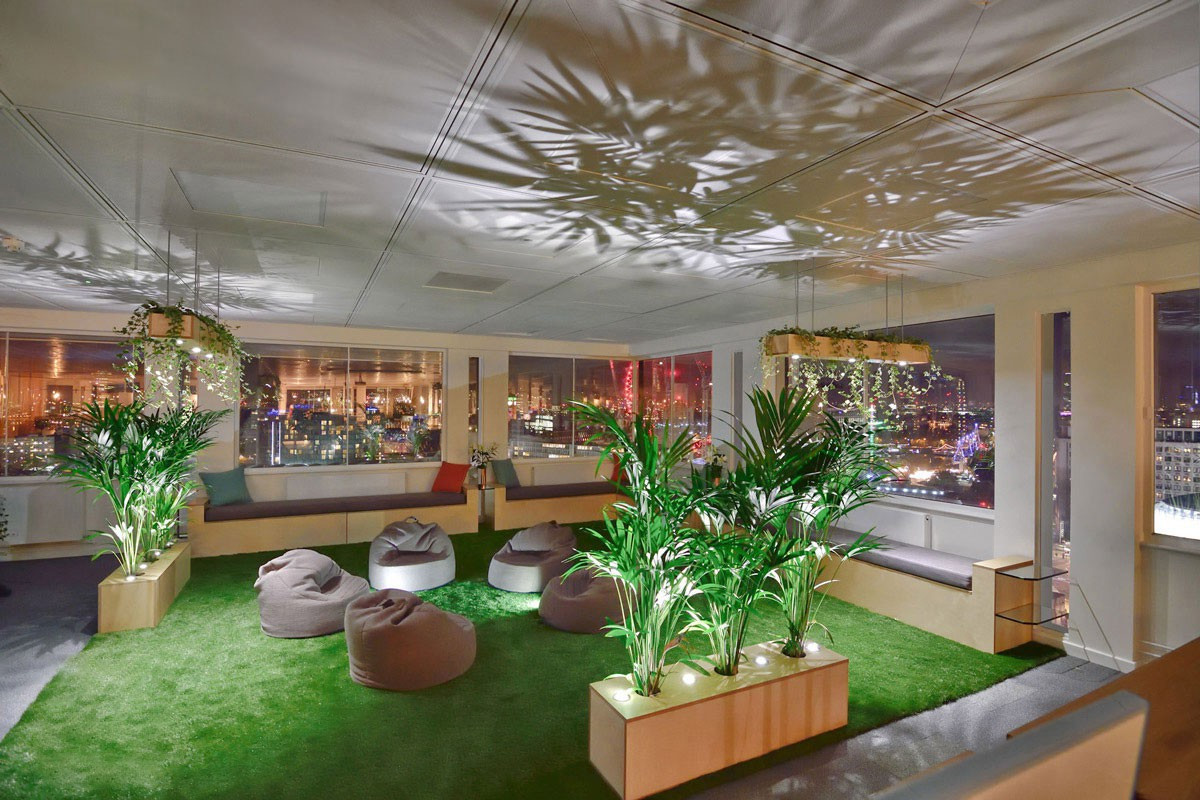 The garden breakout area at InfoTrack captured at night time with the lighting illuminating the shadows of the plants across the ceiling