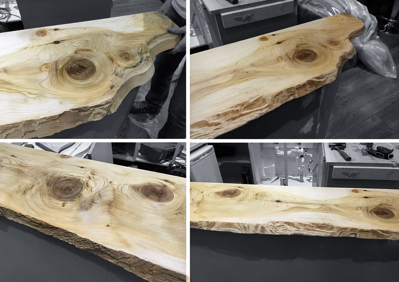 Various stages of sanding the cedar wood for the juice bar counter top