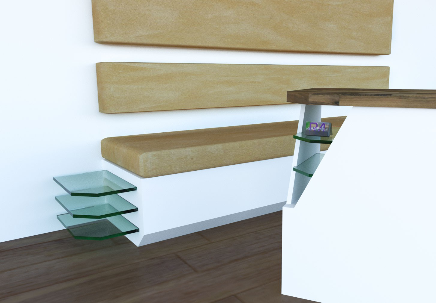 A graphic designed visual for the London Doctors Clinic bespoke banquette a wooden white foundational structure with beige padded seating and back support with in-built glass shelves on the side