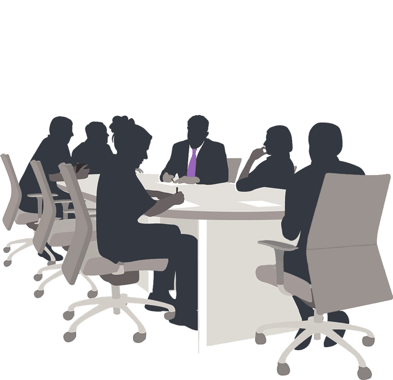 A graphic image of silhouetted staff sitting and working at a meeting table