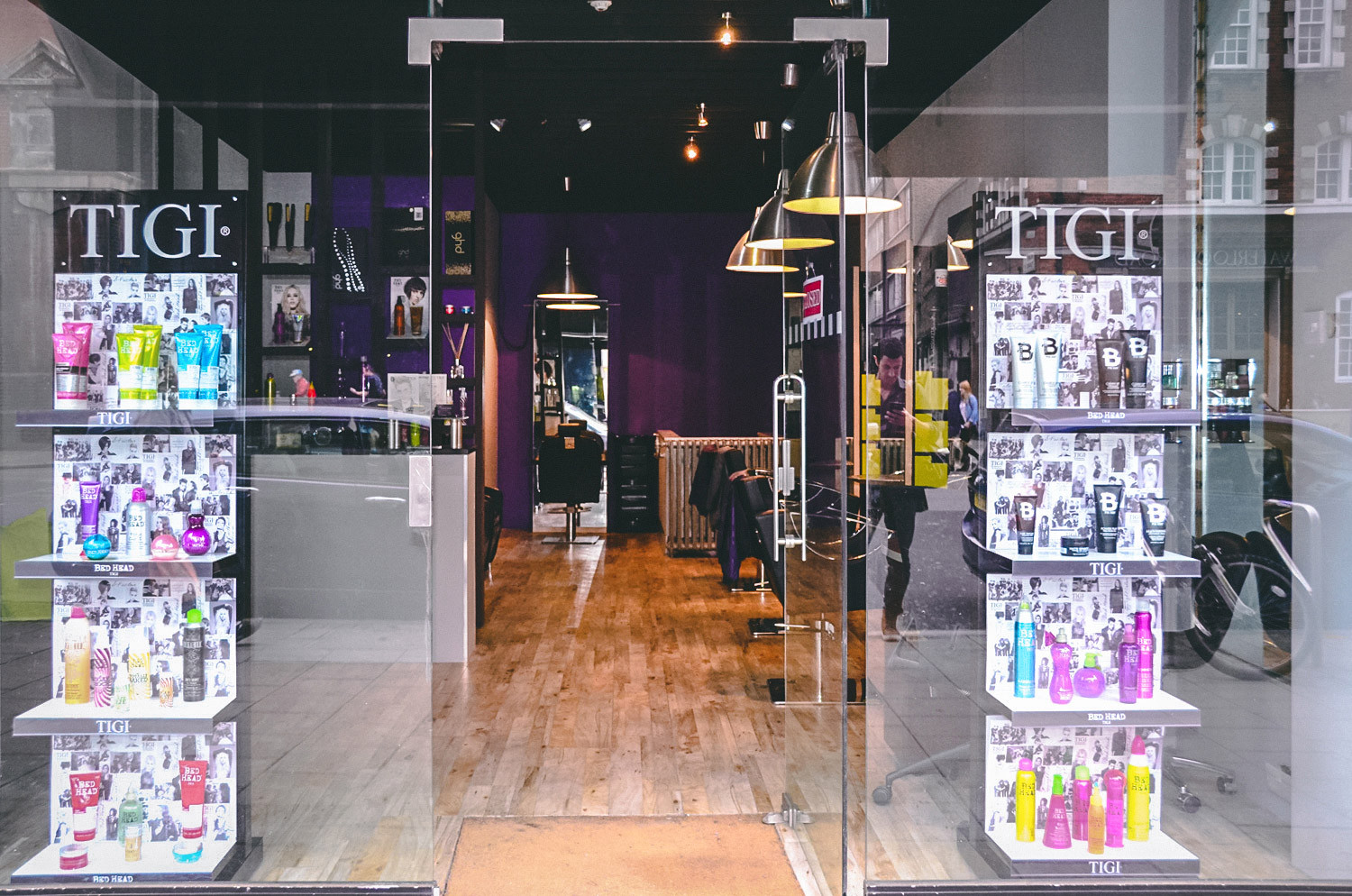 The window display layout design and entrance of the Reeds of London hair salon