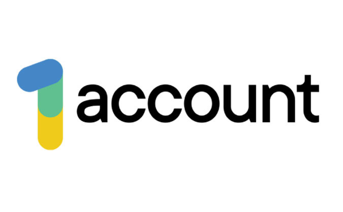 """The 1 Account logo with the number 1 enlarged in company colours blue, green and yellow and the word """"account"""" in black"""