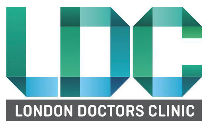 """The London Doctors Clinic company logo with letters """"LDC"""" in shades of green and blue with """"London Doctors Clinic"""" written in white lettering with in a grey block"""