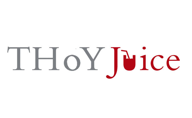 """The Thoy Juice company logo in light grey and red with the letter """"U"""" replaced with a graphic of a cup and straw"""