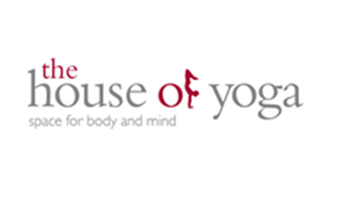 The House of Yoga company logo in bergundy and light grey coloured text with a graphic of a person doing a head stand