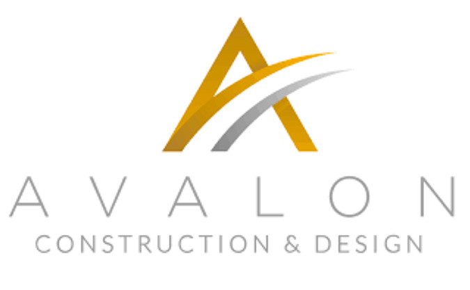 The Avalon company logo text written in silver with a graphic designed letter 'A' in gold and silver above