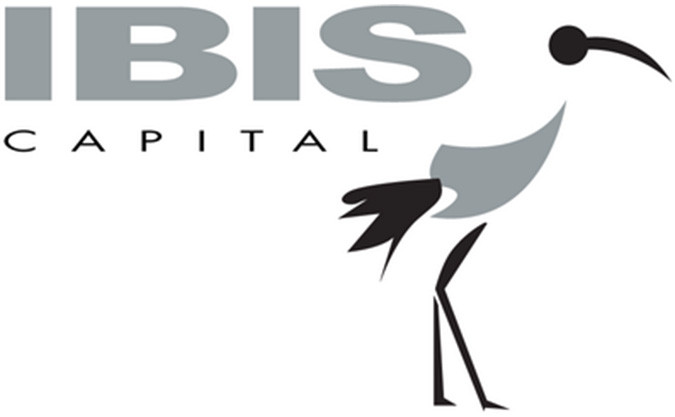 The Ibis Capital company logo in grey and black with a graphic designed image of a stalk